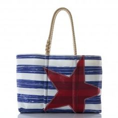 Distressed Navy Stripe with Red Star Tote