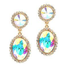 Bold Iridescent Oval Drop Earrings with Rivoli Studs