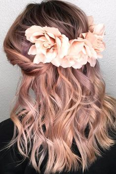 [ Bridal Hairstyles : 30 Wedding Hairstyles Ideas For Brides With Thin Hair ❤ wedding hairstyles for thin hair wavy pink hair decorated with roses Thin Hair Updo, Wavy Hair, Dyed Hair, Hair Color Pink, Pink Hair, Boho Hairstyles, Wedding Hairstyles, Thin Hairstyles, Photomontage