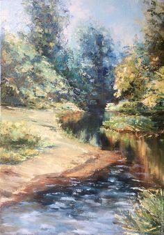 Купить Картина маслом пейзаж Река Върбица Импрессионизм - картина маслом пейзаж, картина маслом: