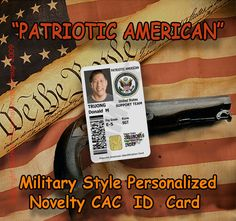 Patriotic American Novelty Military Cac Style Personalized Novelty Id Card Patriotic Personal Cards Cards