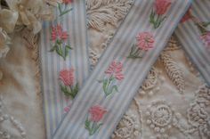 1y Vintage French 1930s Blue Stripe Taffeta Pink Woven Embroidered Flowers Jacquard Floral Ribbon Schiffli Trim Dress Shabby Cottage by VintageCottageFinds on Etsy https://www.etsy.com/listing/212223629/1y-vintage-french-1930s-blue-stripe