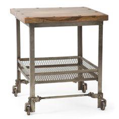 vintage side table on wheels