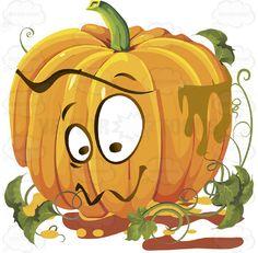 Aww, Cure Expression Orange Pumpkin Face With Green Vines #autumn #celebration #emotion #expression #face #fall #feeling #halloween #holiday #jackolantern #mood #november #october #orange #patch #pumpkin #thanksgiving #vegetable #vine #vector #clipart #stock