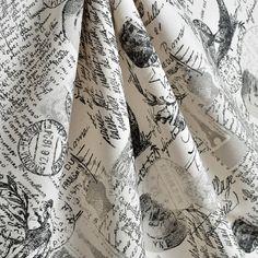 Upholstery Fabric, Drapery Fabric, French Script Fabric, PillowFabric, Paris Eiffel Tower, Black/Gray French Stamp/Document, HomeDecorFabric