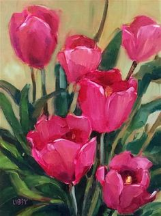 """Daily Paintworks - """"Truly Tulips"""" - Original Fine Art for Sale - © Libby Anderson"""