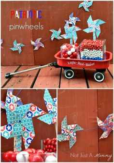 Patriotic Pinwheel Garland + Flags | Not Just A Mommy