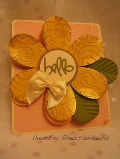 2013-03-22  by bonnie32002 Cricut Wild Card - Flower card base with Owl Hello (same cartridge)