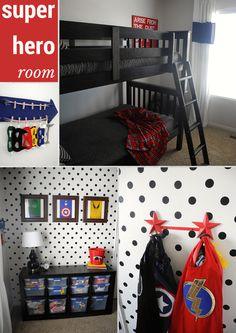 DIY super hero boy's bedroom makeover on a budget!