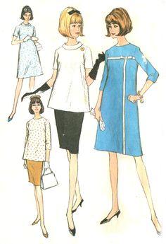 Vintage 60s McCalls 8132 Mod Maternity Pattern - Dress / Top / Slim Skirt - Size 14. $6,95, via Etsy.