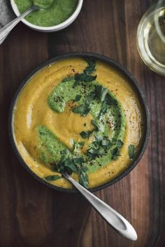 A wonderful fall roasted acorn squash soup featuring a light lift from sumac and a swirl of tahini-parsley sauce. A perfect lunch or dinner!