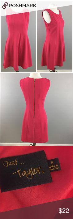 """Just Taylor Nordstrom's Pink A Line Mini Dress Just Taylor Nordstrom's Pink A Line Mini Dress. Size 8 with slight stretch. Gorgeous dress! Very well made. Dress hits slightly above the knee in length and has a back zipper enclosure. Thank you for looking at my listing. Please feel free to comment with any questions (no trades/modeling).  •Fabric: 100% Polyester •Bust: 38""""  •Length: 37.5""""  •Condition:  EUC, no visible flaws.   25% off all Bundles or 3+ items! Reasonable offers welcome. Visit…"""