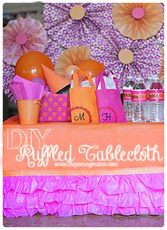 DIY No Sew Ruffled Tablecloth | The Pinning Mama