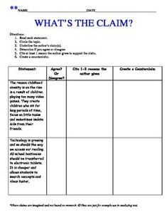 This Graphic Organizer is leveled into 3 options for differentiation or scaffolding needs.  Each graphic organizer has subtle differences to allow each student to stretch their thinking individually.A great activity for having students break down sentences using close reading strategies in order to determine claims and counterclaims for a given argument.