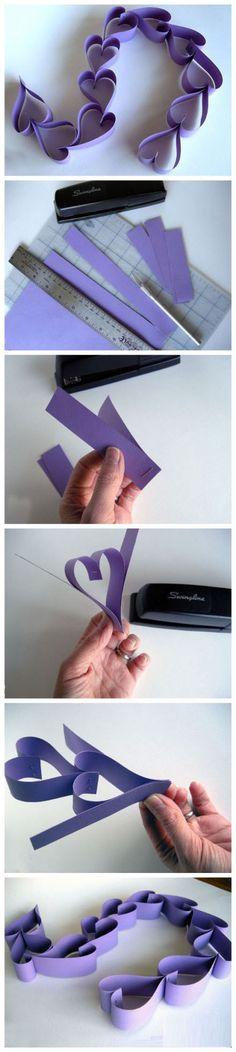 Paper hearts purple creative diy diy ideas diy crafts do it yourself crafty diy pictures paper hearts