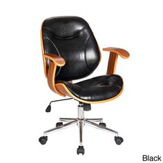 Work in comfort without sacrificing the style of your office with the Rigdom swivel desk chair. Each time you sit, relax in cushioned comfort thanks to the soft back and bottom upholstery. This black