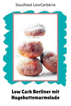 Endlich leckere Berliner ohne Kohlenhydrate #lowcarb #keto #lowcarbkrapfen #lowcarbberliner #lowcarbpfannkuchen. Egal wie du sie nennen magst, endlich gibt es sie bei uns im Shop! Es ist ein lecker, lockerer Lower Carb Hefeteig gefüllt mit LowCarb Marmelade: Glutenfrei, ohne Zucker, ohne Mehl! Jetzt erhältlich: www.soulfood-lowcarberia.de Low Carb Restaurants, Low Carb Desserts, Donuts, Brownies, Muffin, Snacks, Breakfast, Food, Gluten Free Cooking