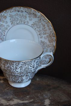 QUEEN ANNE Vintage Bone China Tea Cup and Saucer by HoneyandBumble, $18.00