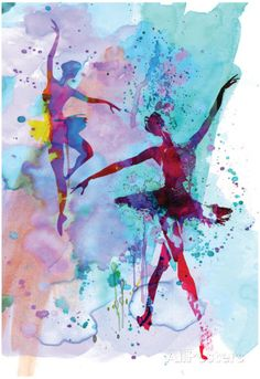 Two Dancing Ballerinas Watercolor 2 Posters por Irina March na AllPosters.com.br
