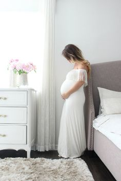 Maternity Gown fitted white maternity dress With by EmbieBaby