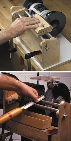 strong and stable planer knife and gouge sharpening jig. make one and put the degrees on the end.