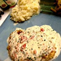 Herb Crusted Chicken in Basil Cream Sauce ~ I LOVE this sauce!