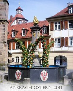 Osterbrunnen, fränkische Ostern,Ansbach, Markgrafenbrunnen , Franken