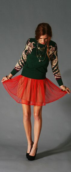 Holiday Sweater + Red Sheer Skirt