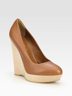 Yves Saint Laurent - Leather Wedge Platform Pumps - Saks.com