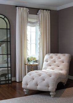 For master bedroom _ Elegant bedroom features a linen tufted French chaise lounge next to a brass quatrefoil table, . Small Master Bedroom, Master Bedroom Design, Home Bedroom, Bedroom Corner, Corner Couch, Bedroom Couch, Chaise Lounge Bedroom, Cozy Corner, Master Suite
