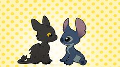 Stitch and Toothless by =Kitchiki on deviantART