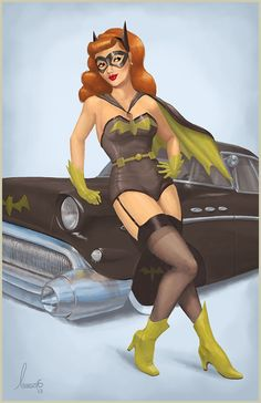 I've had a lot of request for Batgirl. Specifically Barbra Gordon Batgirl. I wanted to do a nod to the hot rod honeys and give Babs her own Kick-ass Batmobile! Prints will be available at Austin Comic Con or you can order them online at: http://spicydonut.storenvy.com/products/4035929-batgirl-pinup-print