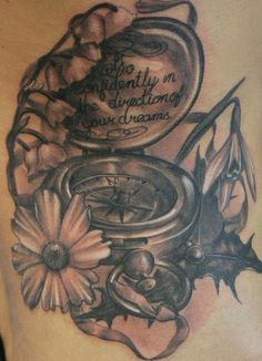 Compass flower tattoo - 40 Awesome Compass Tattoo Designs  <3 !