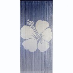 Navy White Hibiscus is a 90 x 200cm beaded door curtain featuring a single stencil image of a hibiscus flower in white against a navy background.
