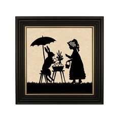 Easter Bunny and Little Girl Framed Paper Cut Silhouette in   Etsy Fox Painting, Painting Prints, Canvas Prints, Teeth Pictures, Picture Hangers, Metal Hangers, Hanging Wall Art, Black Wood, Paper Cutting