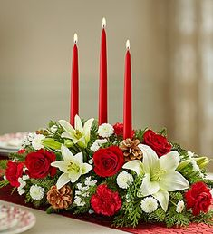 Traditional Christmas Centerpiece from 1-800-FLOWERS.COM-90669