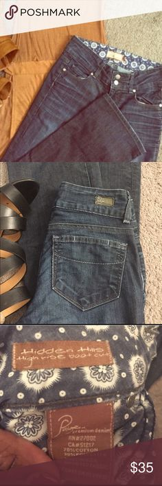 """Paige Jeans """"Hidden Hills"""" Size 24 Paige Jeans  •Style """"Hidden Hills"""". •Dark wash. •High Rise Boot Cut. •Size 24 (0). Inseam 30.5"""", Front Rise 5.5"""", Waist 25"""". •Used, good condition. Paige Jeans Jeans Boot Cut"""