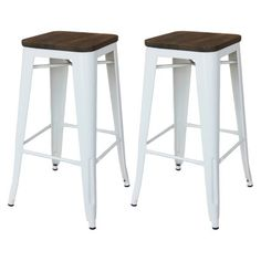 """Threshold™ Hampden 29"""" Industrial Barstool with Wood Top (Set of 2) Brought to you by LG Studio"""