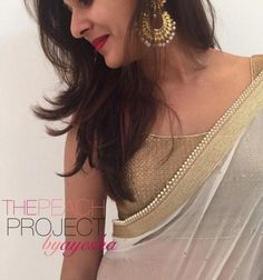 The Gold and White Chiffon Saree Set