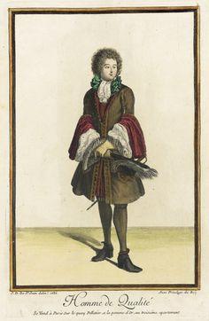 Recueil des modes de la cour de France, 'Homme de Qualité' . Jean Dieu de Saint-Jean (France, flourished 1675-1695) Hand colored engraving paper 1686