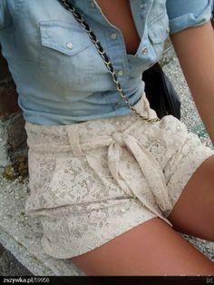 Denim Shirt Lace Shorts Summer Outfit
