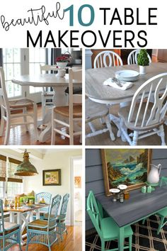 10 Kitchen Table Transformations Check out these beautiful table makeovers! DIY paint your own table by learning from others.In and out In and out may refer to: Painting Kitchen Chairs, Painted Kitchen Tables, Painting Kitchen Cabinets, Kitchen Paint, Card Table Makeover, Kitchen Table Makeover, Room Wall Decor, Cuisines Design, Painted Furniture
