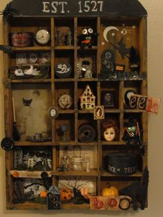 halloween shadow box/made with thrifted items