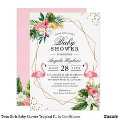 Invitation Baby shower de Flamant rose Tropical Floral Gold P Invitation Baby Shower, Baby Shower Invites For Girl, Baby Shower Princess, Baby Shower Floral, Flamingo Baby Shower, Shower Baby, Baby Showers, Bride Shower, Flamingo Party