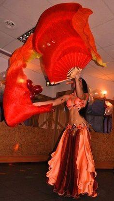 orange/pink/dark belly dance costume