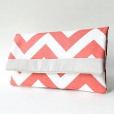 Clutch Purse Coral and Gray Chevron Clutch