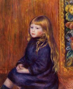 Seated Child in a Blue Dress (Pierre Auguste Renoir - 1889)