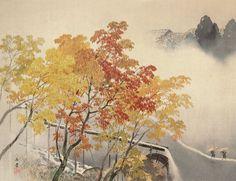 川合玉堂 Kawai Gyokudo 『渓雨紅樹』