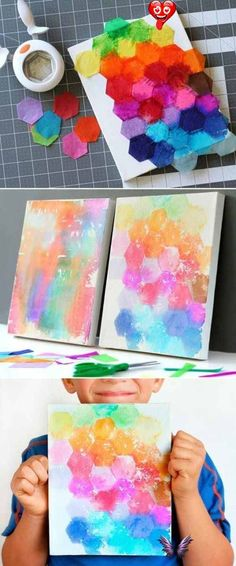 Summer Art on Canvas Tie Dye Ideas & Crafts for the Kids Summer Tie Dye Ideas & Crafts for the Kids - upcycled gift wrap tissue paper to make this tie dye art on canvas. Perfect kid or teen craft at home. #frugalcouponliving #summer #summercrafts #craftsforkids #tiedye #canvas #craftsoncanvas #canvascrafts #tiedyeideas<br> Summer Tie Dye Crafts on Frugal Coupon Living. Summer Bucket List Ideas for Kids including Tie Dye Ideas for your summer calendar. Easy Painting Projects, Easy Canvas Painting, Painting For Kids, Art For Kids, Art Children, Diy Painting, Children Painting, Kids Canvas Art, Diy Canvas