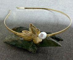 Bridal Headband - White Bridal Gold Headband, Bridal Hair Accessories, Shabby Chic Wedding ,Gold Leaf Headband With White Pearl